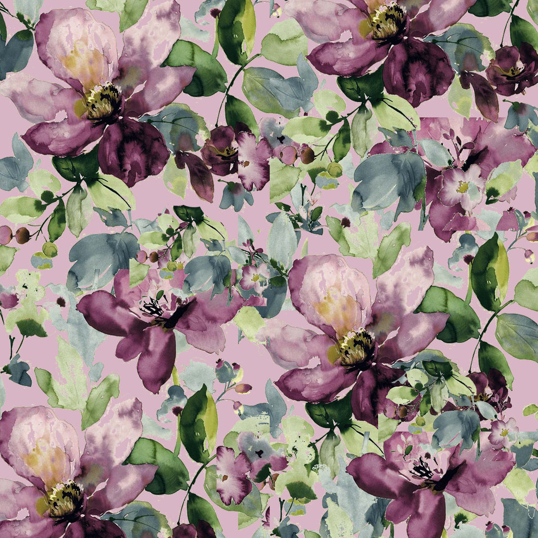 Purple Roses Flowers Mauve Pattern Decal 12