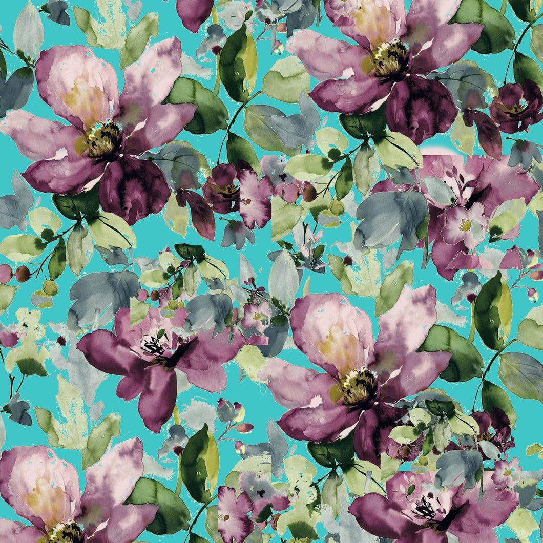 Purple Roses Flowers Teal Pattern Decal 12