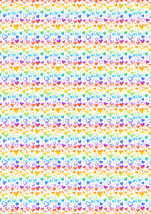 "12"" x 17 Rainbow Doodle Hearts on White Valentine's Day Pattern HTV Sheet Heat Transfer Vinyl Iron on"