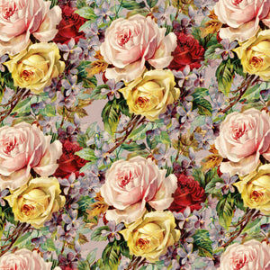"Red Yellow Roses Flowers Pattern Decal 12"" x 12"" Sheet Waterproof - Gloss Finish"
