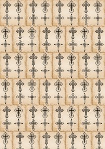 "12"" x 17"" Vintage Crosses Pattern HTV Sheet"
