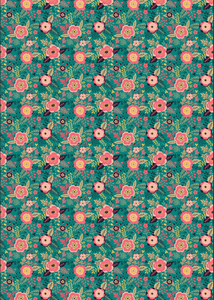 "12"" x 17"" Turquoise and Coral Peonies Clipart Pattern HTV Sheet"