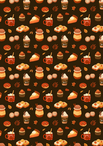 "12"" x 17"" Fall Treats Brown Pattern HTV - Heat Transfer Vinyl Sheet"