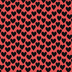 "12"" x 12""  Valentine's Black White Dots with Coral Hearts Pattern Sheet Waterproof - Gloss Finish"