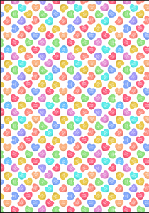 "12"" x 17 Valentine's Candy Hearts Pattern HTV Sheet Heat Transfer Vinyl Iron on"