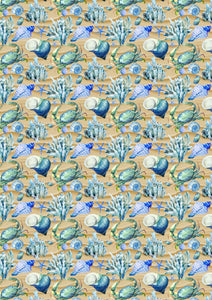 "12"" x 17""  Sea Shells HTV Sea Ocean Beach Sand Pattern HTV Sheet"