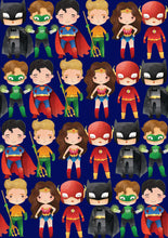 "Load image into Gallery viewer, 12"" x 17"" SUPERHEROES HTV Pattern HTV Sheet Blue Printed Sheet - Heat Transfer Vinyl"