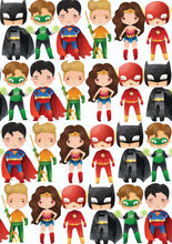 "Load image into Gallery viewer, 12"" x 17"" SUPERHEROES HTV Pattern HTV Sheet White Printed Sheet - Heat Transfer Vinyl"