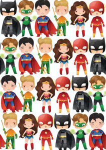 "12"" x 17"" SUPERHEROES HTV Pattern HTV Sheet White Printed Sheet - Heat Transfer Vinyl"