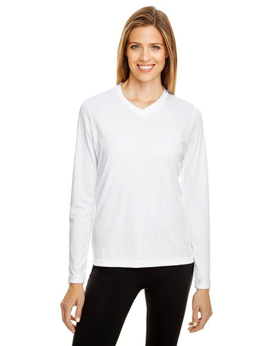Long Sleeve Team 365 V-Neck  Zone Performance T-Shirt 100% Polyester Drifit