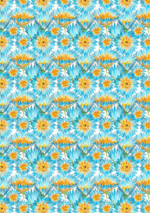 "12"" x 17"" Teal Yellow Flowers HTV Floral Mother's Day Wedding Pattern HTV Sheet"