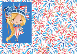 "12"" x 17"" Blonde Cutie HTV Fireworks 4th of July Fourth of July Pattern Heat Transfer Vinyl Sheet"