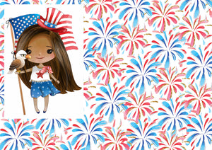 "12"" x 17"" African American Cutie HTV Fireworks 4th of July Fourth of July Pattern Heat Transfer Vinyl Sheet"