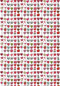 "12"" x 17 Heart Doodles Valentine's Day Pattern HTV Sheet Heat Transfer Vinyl Iron on Valentine14"