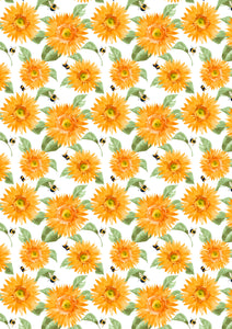 Yellow Flowers HTV Floral Mother's Day Wedding Pattern HTV Sheet