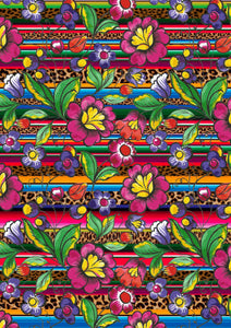 "12"" x 17"" BRAND NEW Serape Zarape Animal Print FLORAL Mexico Colorful Background Pattern HTV Sheet"