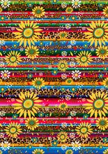 "Load image into Gallery viewer, 12"" x 17"" Serape Cheetah Sunflowers Animal Print Light and FLORAL Mexico Colorful Background Pattern HTV Sheet"