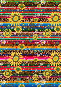"12"" x 17"" Serape Cheetah Sunflowers Animal Print Light and FLORAL Mexico Colorful Background Pattern HTV Sheet"
