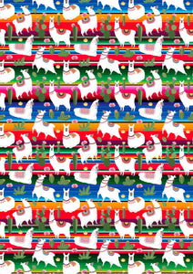 "12"" x 17"" BRAND NEW Serape and Llamas Mexico Colorful Background Pattern HTV Sheet"
