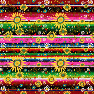 "Zarape Serape Pink Green Sunflowers Pattern Decal 12"" x 12"" Sheet Waterproof - Gloss Finish"