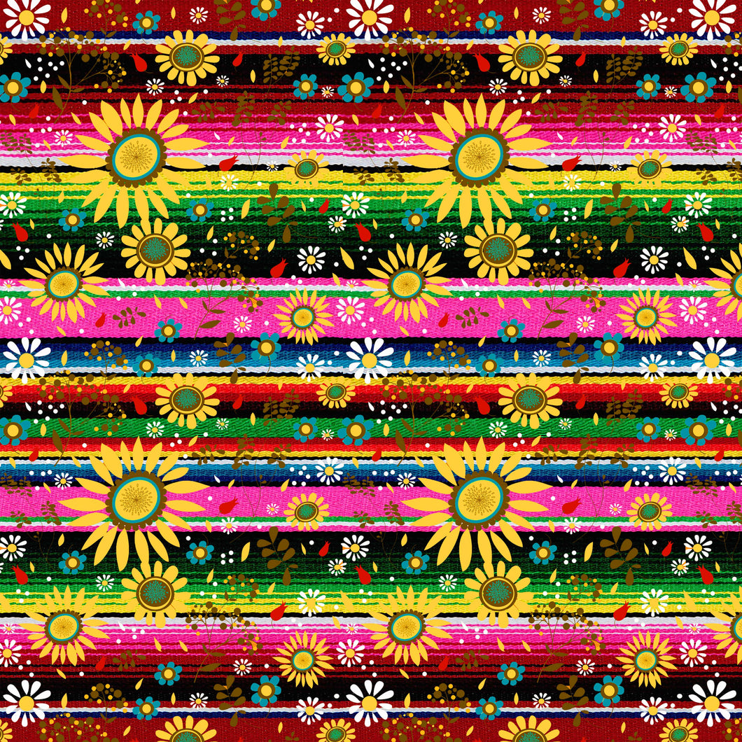Zarape Serape Pink Green Sunflowers Pattern Decal 12