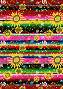 "12"" x 17"" Serape Pink Green Sunflowers HTV Mexico Colorful Background Pattern HTV Sheet"