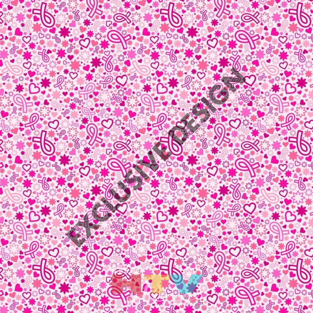 Breast Cancer Hearts Ribbon Pink Pattern Decal 12 X Sheet Waterproof - Gloss Finish