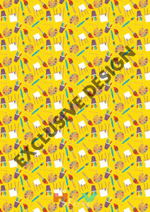 Colorful Art Pencils On Yellow Pattern Htv 12 X 17 Sheet