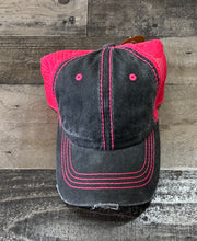 Load image into Gallery viewer, Hot Pink and Black Denim Cap