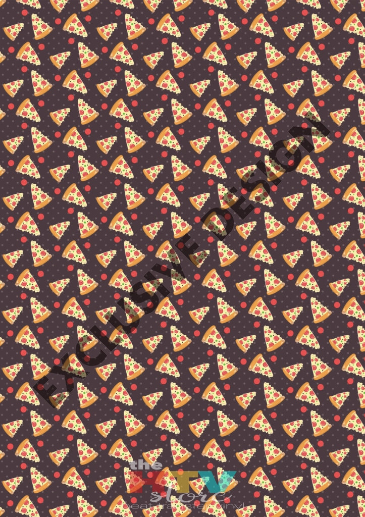 Pizza Slices On Brown Pattern Htv 12 X 17 Sheet