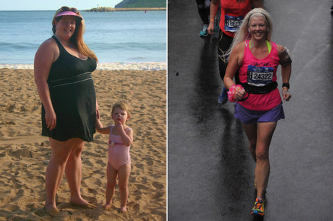 "Stephanie Laska, who stands at 5'8,"" went from 300 pounds, down to about 158 pounds"