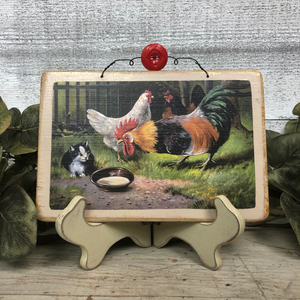 Vintage Postcard Plaque Decor - Backyard Farm