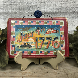 Vintage Postcard Plaque Decor - July 4th 1776