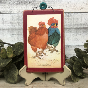 Vintage Postcard Plaque Decor - Mr. and Mrs.