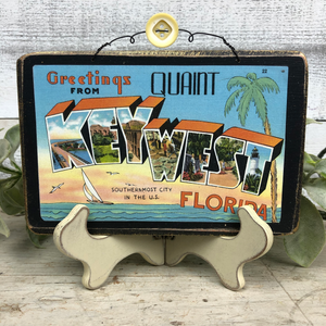 Vintage Postcard Plaque Decor - Key West
