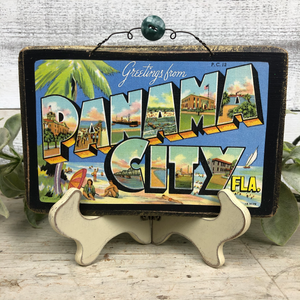 Vintage Postcard Plaque Decor - Panama City