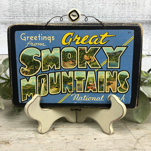 Vintage Postcard Plaque Decor - Great Smoky Mountains National Park