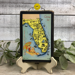 "Vintage Postcard Plaque Decor - ""Come to Florida"""