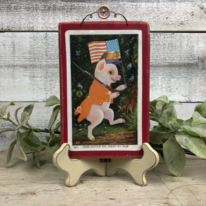 "Vintage Postcard Plaque Decor - ""Little Pig went to War"""