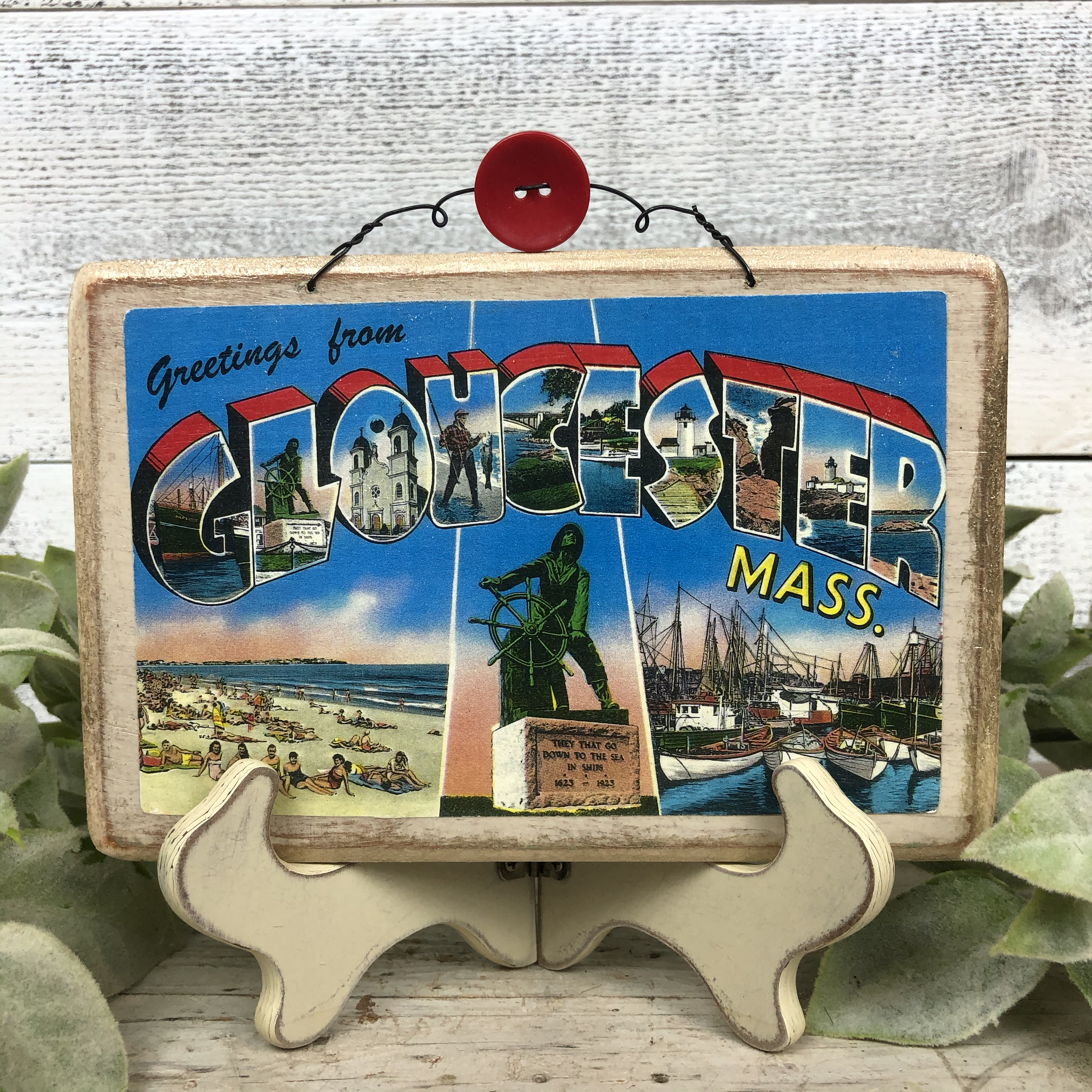 Vintage Postcard Plaque Decor - Gloucester Massachusetts