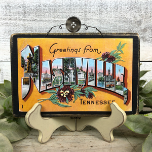 Vintage Postcard Plaque Decor - Nashville Tennessee