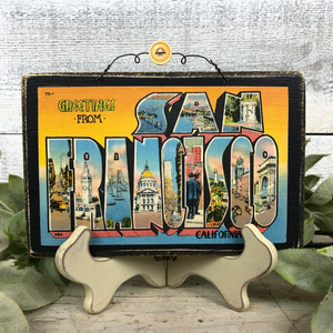 Vintage Postcard Plaque Decor - San Francisco