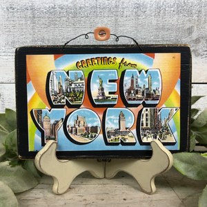 Vintage Postcard Plaque Decor - New York