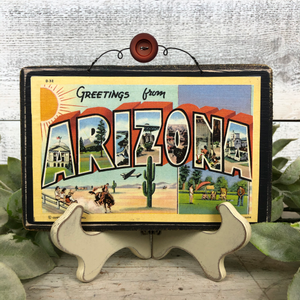 Vintage Postcard Plaque Decor - Arizona
