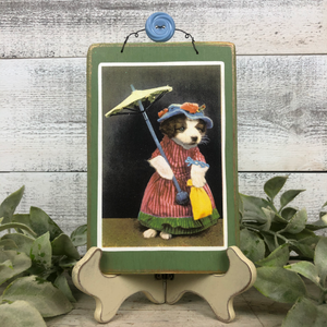 "Vintage Postcard Plaque Decor - ""Sunday Best Pup"""