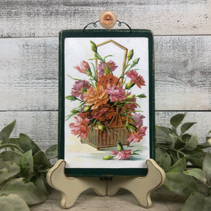 Vintage Postcard Plaque Decor - Basket Full of Flowers