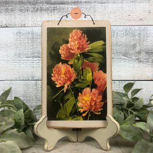 Vintage Postcard Plaque Decor - Dahlia