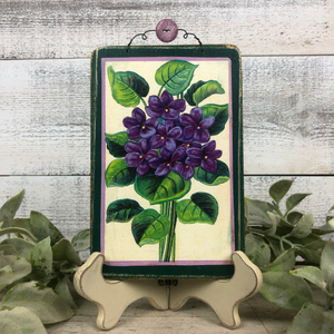 Vintage Postcard Plaque Decor - Lilac