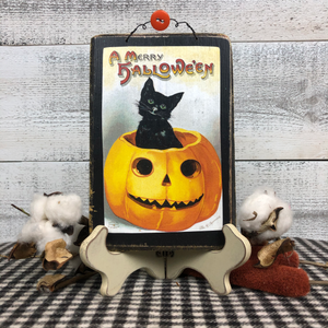 "Vintage Postcard Plaque Decor - ""A Merry Halloween"""