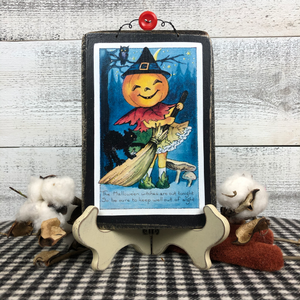 "Vintage Postcard Plaque Decor - ""Halloween Witches"""